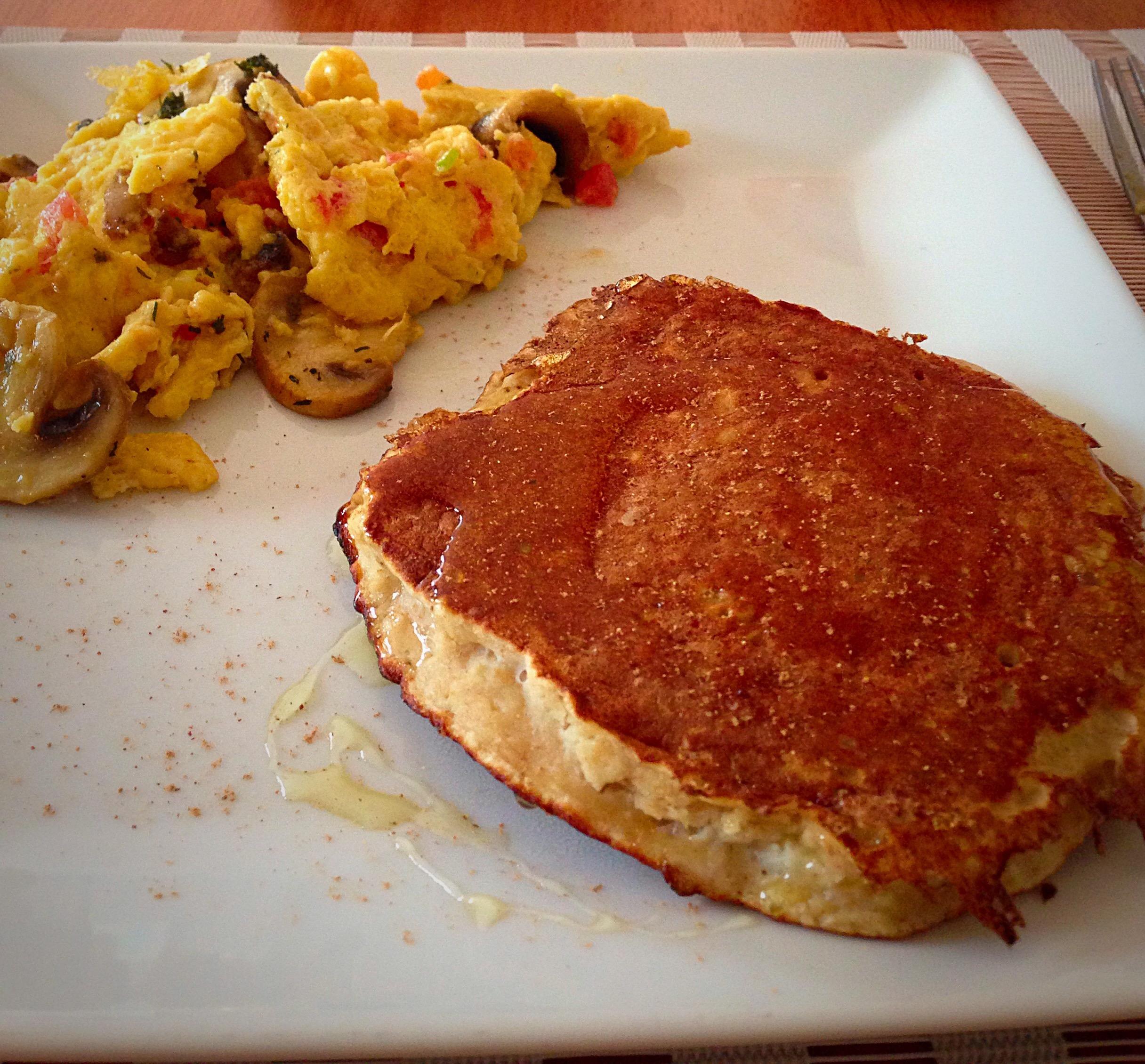 pancakes manzana quinoa avena canela