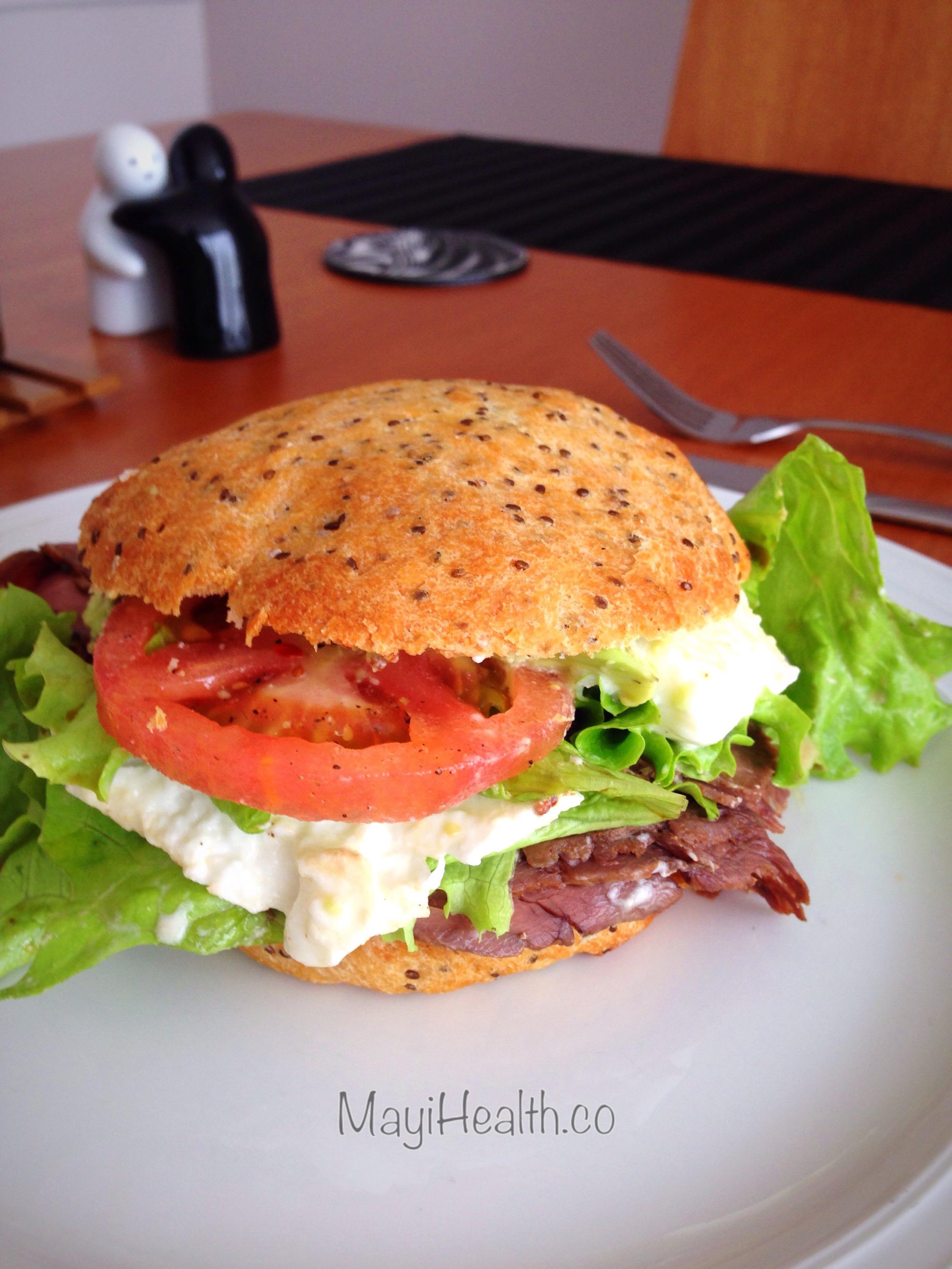 receta de sandwich de Roast Beef y Mozzarella fesca